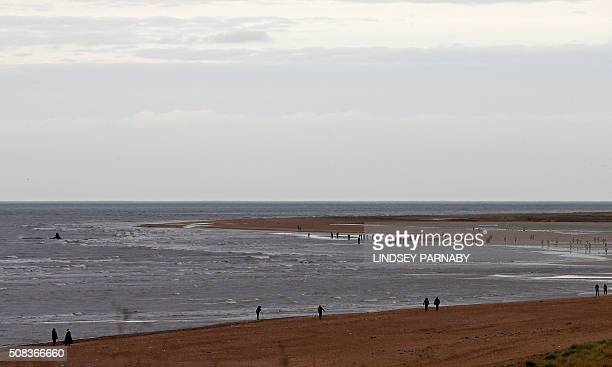 People stand watching a stranded sperm whale founder in shallow water at high tide at Hunstanton Beach in Norfolk eastern England on February 4 2016...