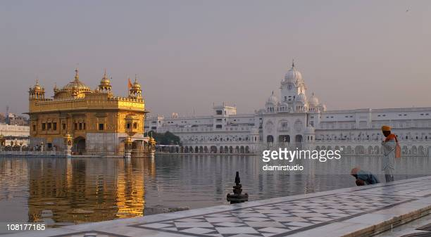 People Standing at Pond in Golden Temple Amritsar