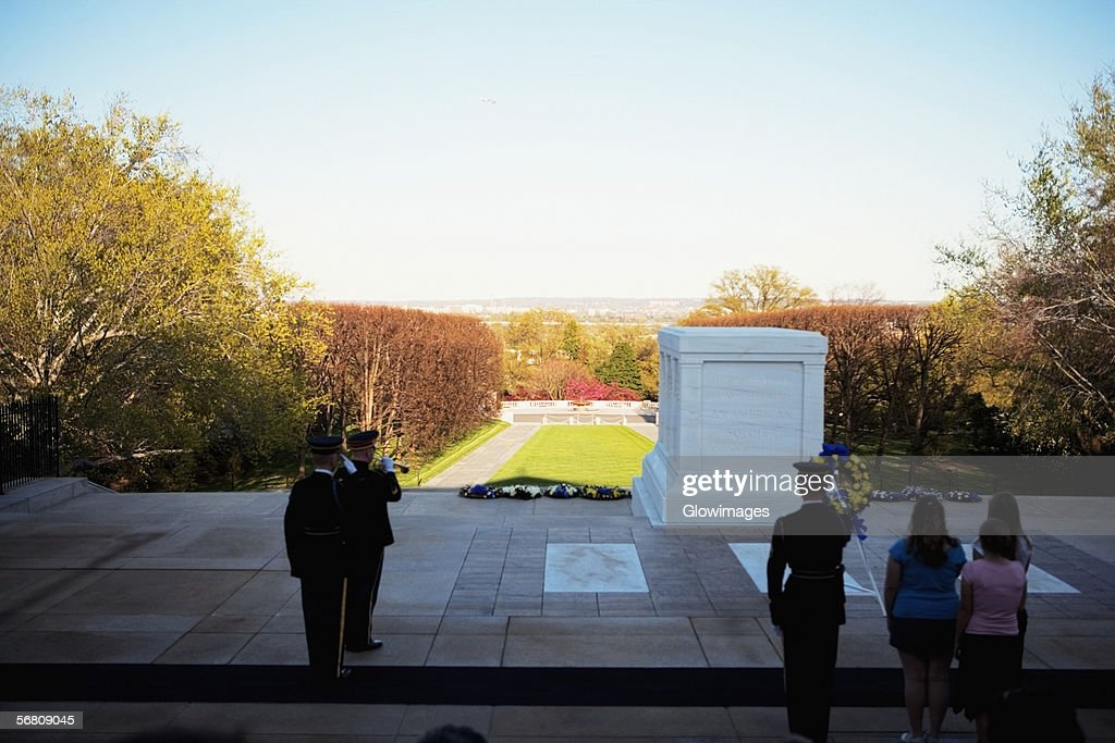 People standing at the Tomb of Unknown Soldier, Arlington National Cemetery, Arlington, Virginia, USA : Stock Photo