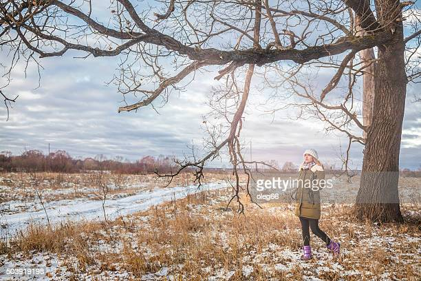 People standing in a winter forest