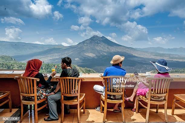 People standing in front the caldeira of batur volcano in Bali