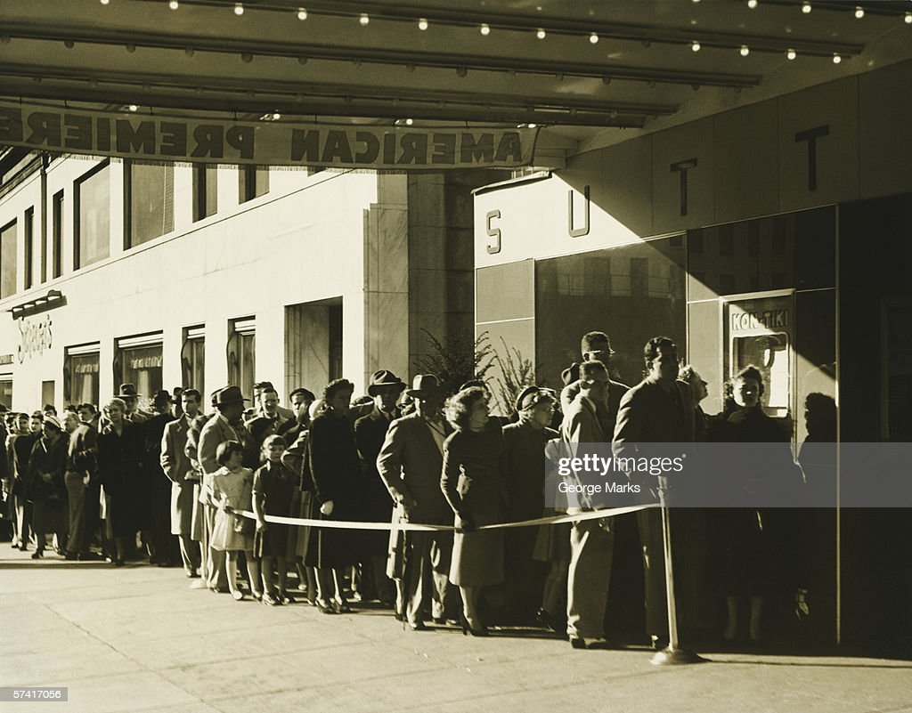People standing in line at cinema in Manhattan, New York City, (B&W) : Stock Photo