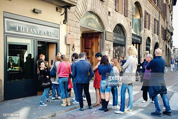 People standing in Queue, Tiffany & Co Shop, Florence, Italy