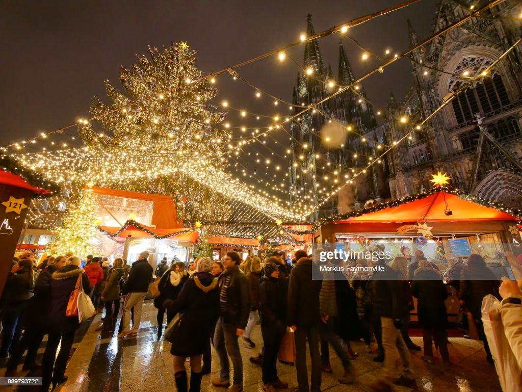 People Standing On The Cologne Christmas Market Stock Photo | Getty ...