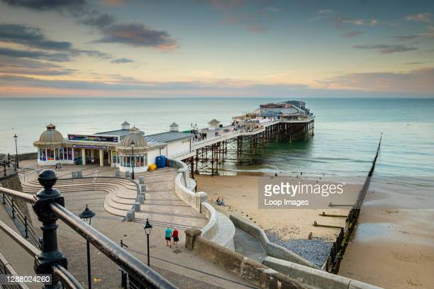People start to arrive for the evening show in the pavilion at Cromer pier.