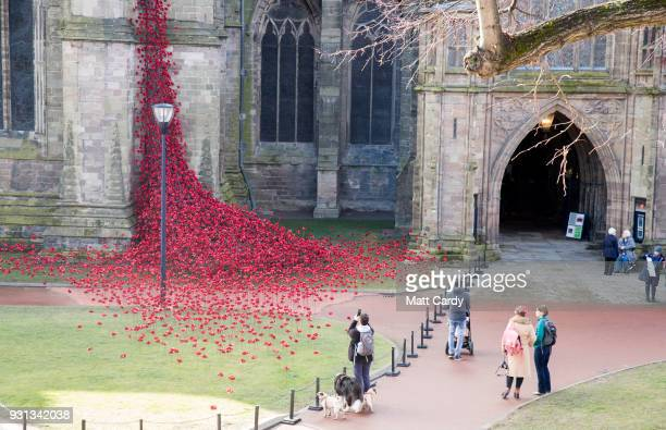 People stop to look as the Weeping Window opens at Hereford Cathedral as part of the final year of the 1418 NOWs UKwide tour of the poppies on March...