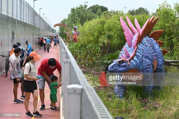 """People stop to take photograph of a life-size dinosaur model displayed along """"Changi Jurassic Mile"""" a leisure path way in Singapore on October 13,..."""
