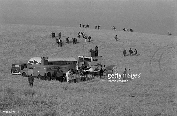 People stream to the Altamont Speedway Free Festival in Northern California held on Saturday December 6 1969