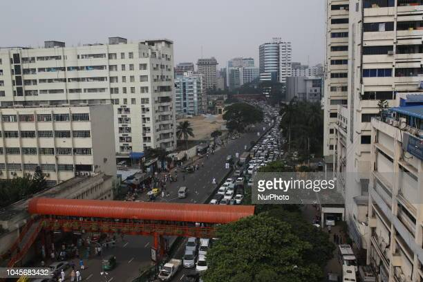 People stuck from traffic jam during the freedom fighters quota seekers protest at Shahbag square demanding reinstating 30 per cent quota in...