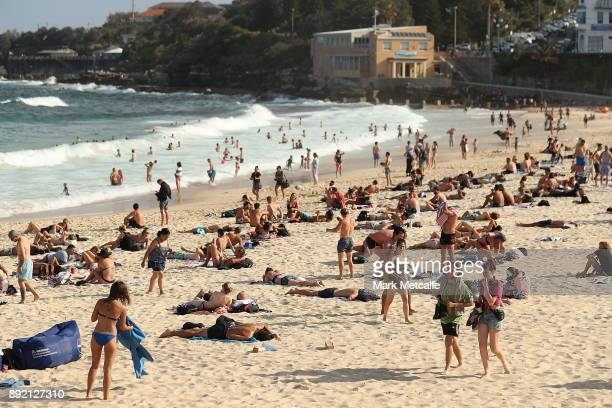 People sunbathe at Coogee beach on December 14 2017 in Sydney Australia The bureau of meteorology has forecast temperatures over 40 degrees for parts...