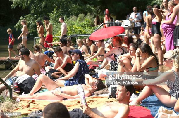 People sunbathing at the mixed bathing pond on Hampstead Heath London as heatwave conditions continue across much of England