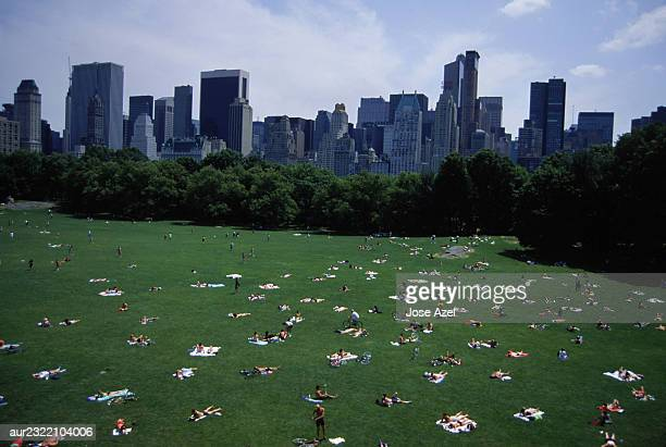 People sunbathing in Sheep Meadow, Central Park, New York City, USA.