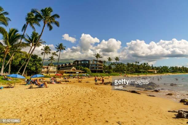 People sunbathing on Maui beach