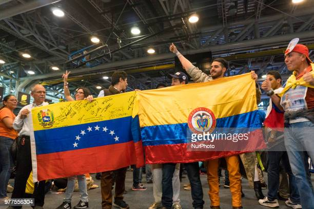 People supporting Iván Duque who is elected as the new president of Colombia in the second round of the 2018 presidential elections after winning the...
