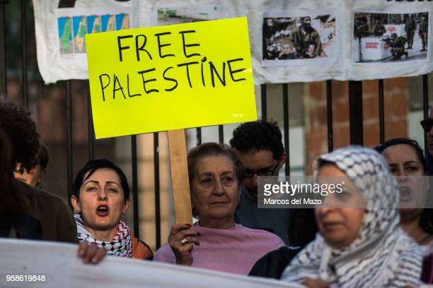 People supporting Palestinians protesting in front of the Embassy of Israel against last deaths in Gaza Strip ahead of the 70th anniversary of Nakba.