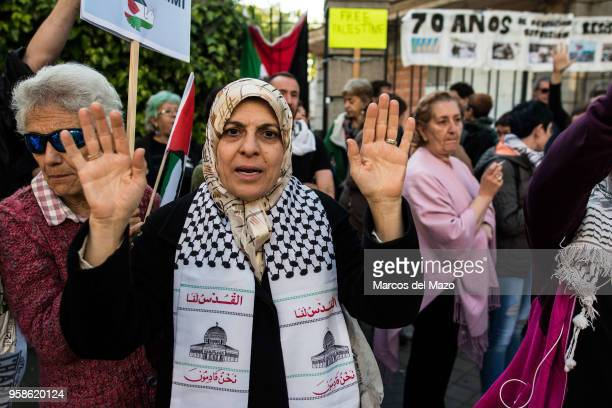 People supporting Palestinians protesting in front of the Embassy of Israel against last deaths in Gaza Strip ahead of the 70th anniversary of Nakba