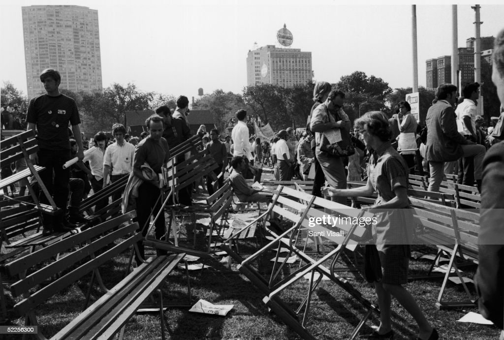 People survey the damage done to Grant Park after riots broke out during a protest of the 1968 Democratic National Convention, Chicago, Illinois, August 28, 1968.