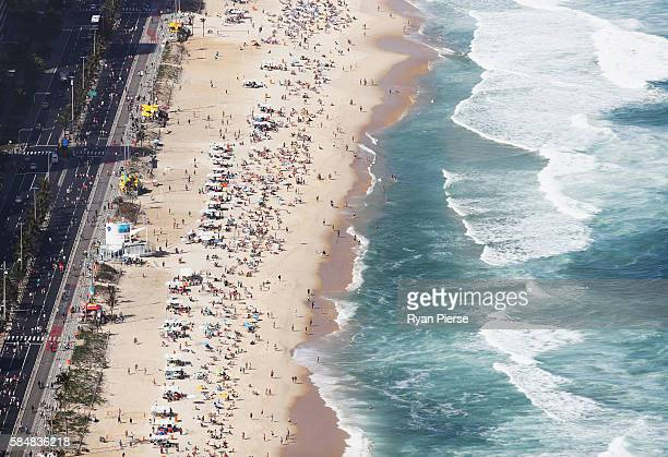 People swim at Ipanema Beach ahead of the 2016 Summer Olympic Games on July 31 2016 in Rio de Janeiro Brazil