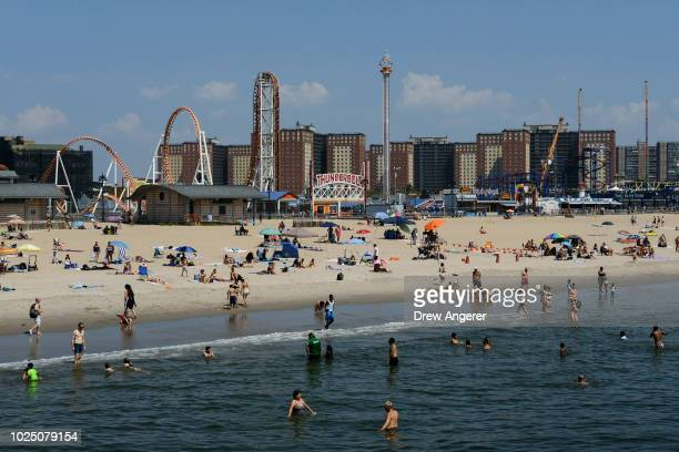 People swim in the water on a hot afternoon at Coney Island Beach August 29 2018 in the Brooklyn borough of New York City The New York City area is...