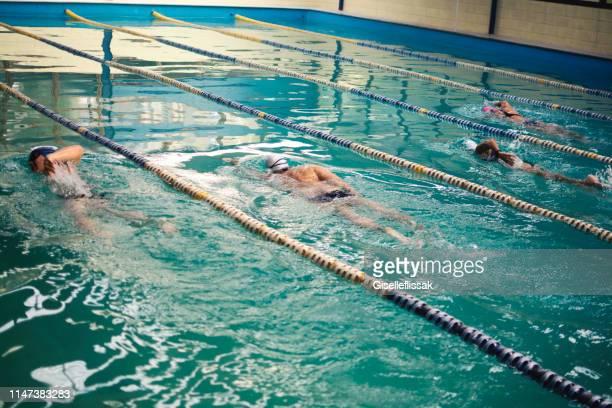 natation de personnes dans un concours de natation - competition group photos et images de collection