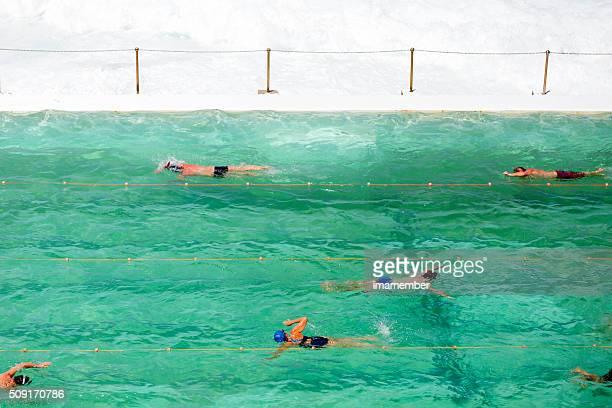 People swimming in ocean swiming pool, Bondi Australia, copy space