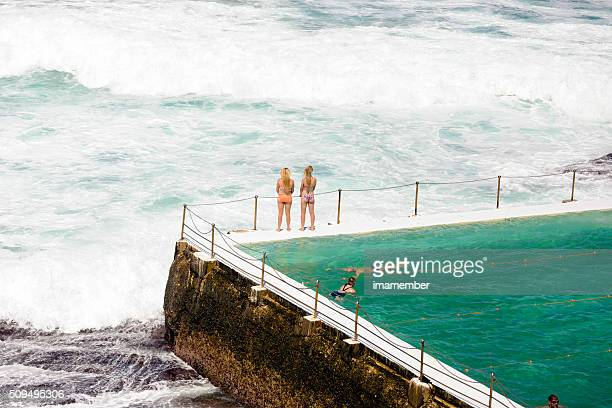 People swimming in ocean swiming pool, Bondi Australia, copy space