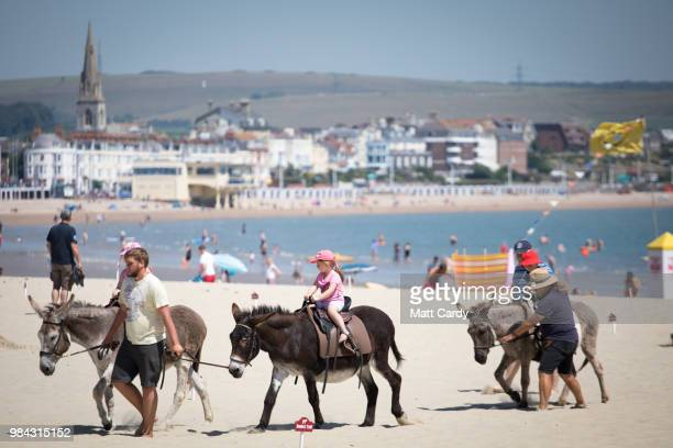 People take donkey rides on the beach at Weymouth seafront on June 26 2018 in Dorset England Parts of the UK are currently basking in heatwave...