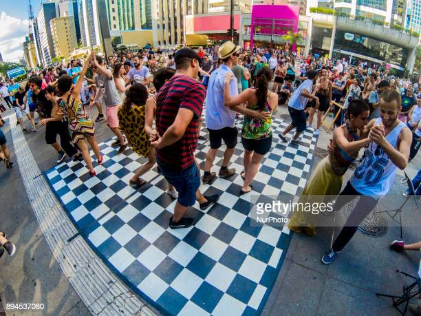 People take part a event 'Jazz in street' on 17 December 2017 in Sao Paulo Brazil The group's proposal is to spread Lindy Hop with open and free...