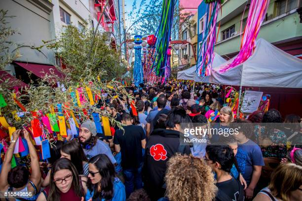 People take part at Tanabata Festival on 16 July 2017 in Sao Paulo, Brazil. The Tanabata Matsuri or Star Festival is a festival that usually takes...
