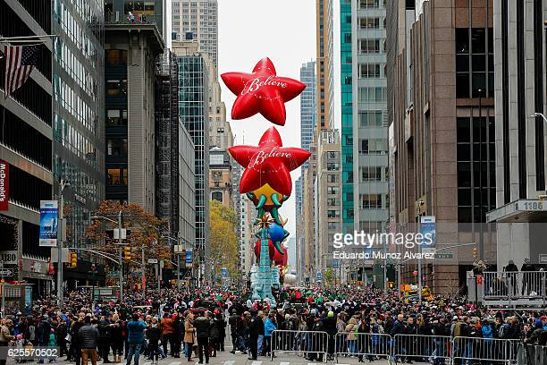 People take part during the 90th Macy's Annual Thanksgiving Day Parade on November 24 2016 in New York City Security was tight in New York City on...
