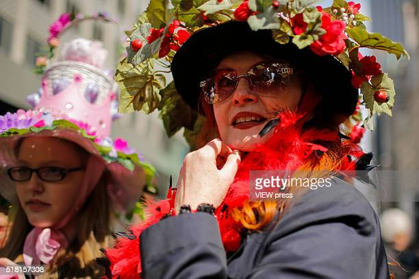 People take part during the annual easter parade in Manhattan New York This annual tradition has been taking place in New York City for over 100...