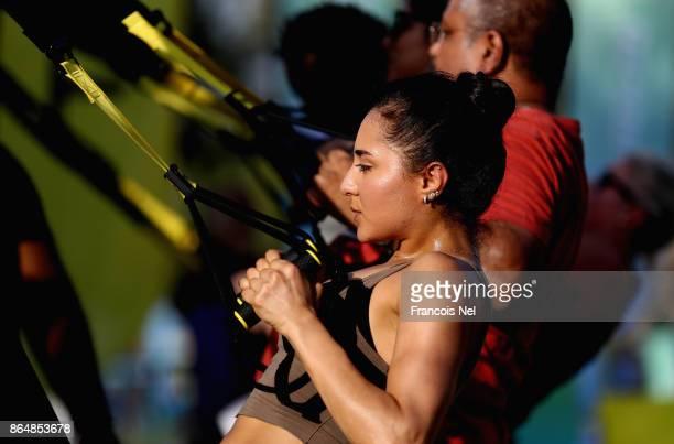 People take part during the Dubai Fitness Challenge Opening Carnivalat Safa Park on October 21 2017 in Dubai United Arab EmiratesThe inaugural Dubai...