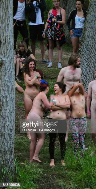 People take part during the launch of Secret Swimming with an attempt to break the record for the Worlds largest skinny dip at Cornbury Park...