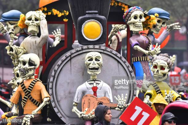 People take part during the Mega Day of the Dead Parade more than 2500 participants including choreographers visual artists and allegorical cars...