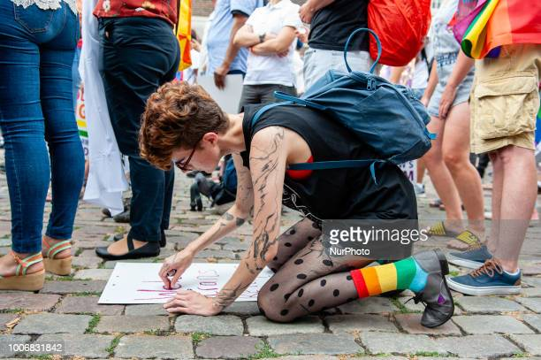 People take part during the Pride Walk in Amsterdam Netherlands on July 28 2018 During this opening activity the organization expects a thousands of...