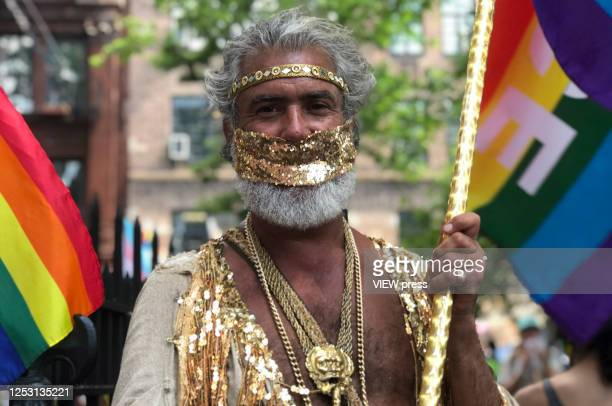 People take part during the Queer March for Black Lives on June 28, 2020 in New York City. The LGBTQ+ community celebrates the 51st anniversary of...