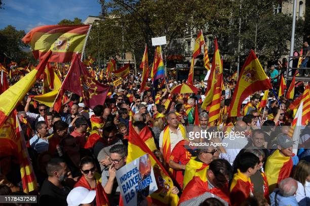 People take part in a demonstration against Catalonia's independence in Barcelona, Spain on October 27, 2019.