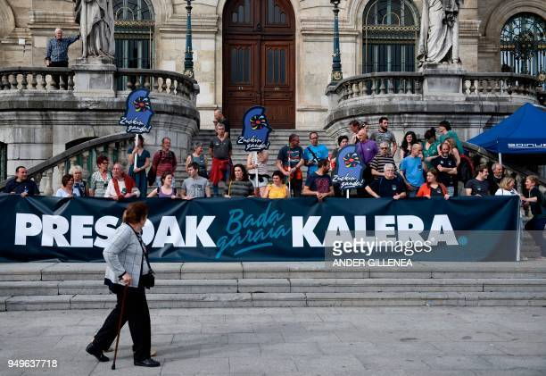 People take part in a demonstration called by the Kalera Kalera Initiative calling for ETA prisonners to be transferred closer to their relatives in...