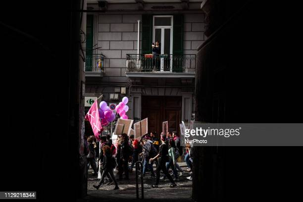 People take part in a demonstration during the International Women's Day in Naples Italy on March 8 2019