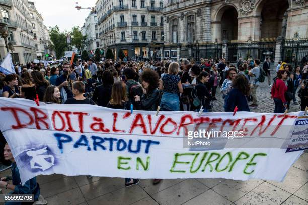 People take part in a demonstration for the right to abortion in Lyon France on September 28 2017