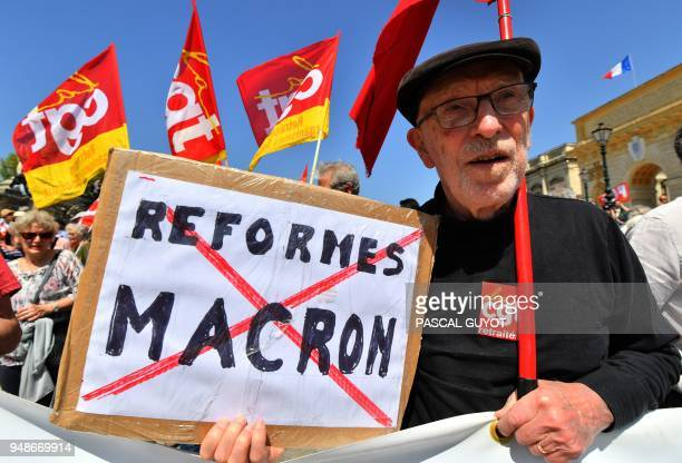 TOPSHOT People take part in a demonstration on April 19 2018 in Montpellier as part of a multi branch day of protest called by French unions CGT and...