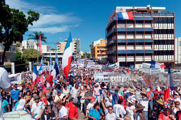 People take part in a demonstration on April 24 2015 in Noumea NewCaledonia called by two right wing UMP affiliated parties to codemn the French...
