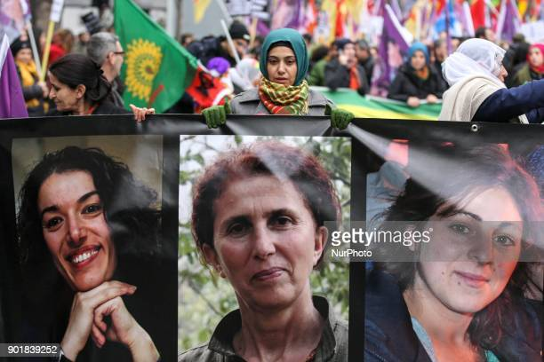 People take part in a demonstration on January 06 2017 in Paris to commemorate the killing on January 9 2013 at the Kurdish Information Centre in...