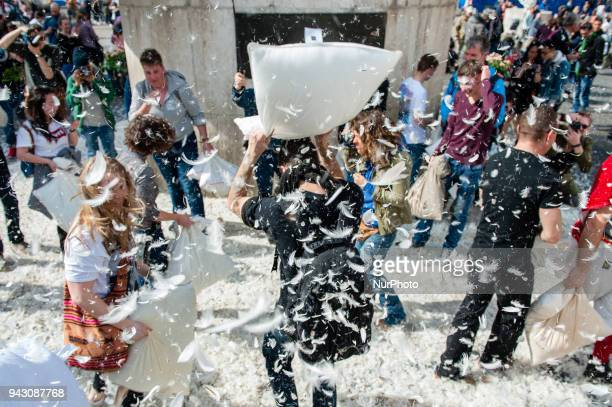 People take part in a giant pillow fight on 'International Pillow Fight Day' on April 7 2018 in Amsterdam Netherlands The year of 2018 marks the...