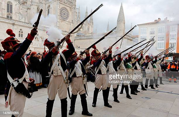 People take part in a historical reenactment of the first uprising of the Spanish People against the occupation by Napoleon's troops, in Burgos on...