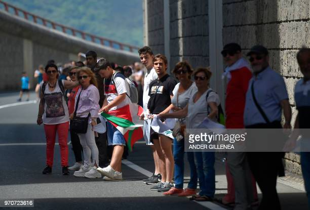 People take part in a human chain during a protest action to support the right to decide organized by 'Gure esku dago' in the northern Spanish Basque...