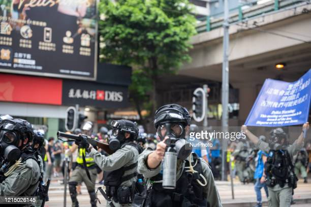People take part in a pro-democracy protest against the National Security Legislation in Hong Kong, China, on May 24, 2020. Kong's pro-democracy camp...