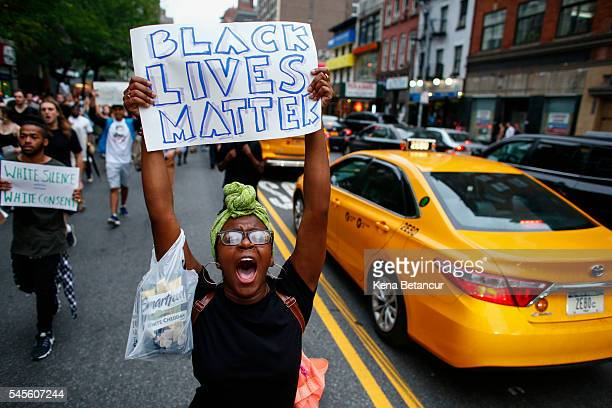 People take part in a protest on July 8 2016 in New York City Police presence was increased around New York City after five police officers were...