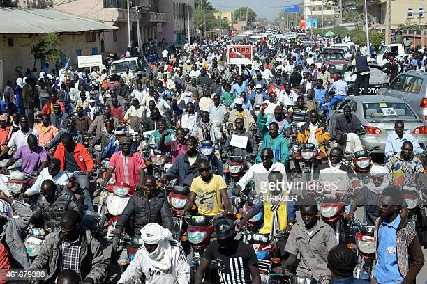 People take part in a rally in N'Djamena on January 17 2015 to show their support of the authorities' decision to send troops to fight Nigeria's Boko...
