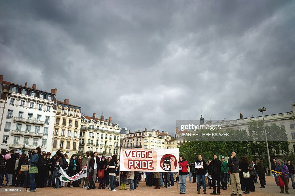 People take part in a rally of Vegetarian activists during the 'Veggie pride' demonstration on May 15, 2010 in Lyon, eastern France. The event, held each year since 2001 in France, aims to express publicly the existence of those who refuse to eat animals and their solidarity with the victims of animal exploitation and slaughter, according to the organizers.